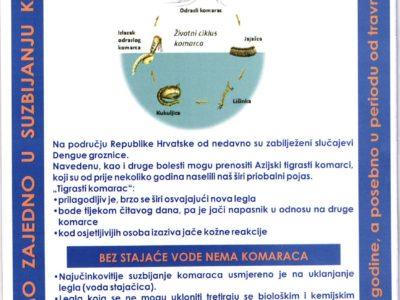 OBAVIJEST MJEŠTANIMA- prijava povećane aktivnosti i broja komaraca